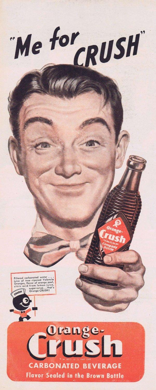 1947 Orange Crush Soda Original Vintage Advertisement with Crushy Figure