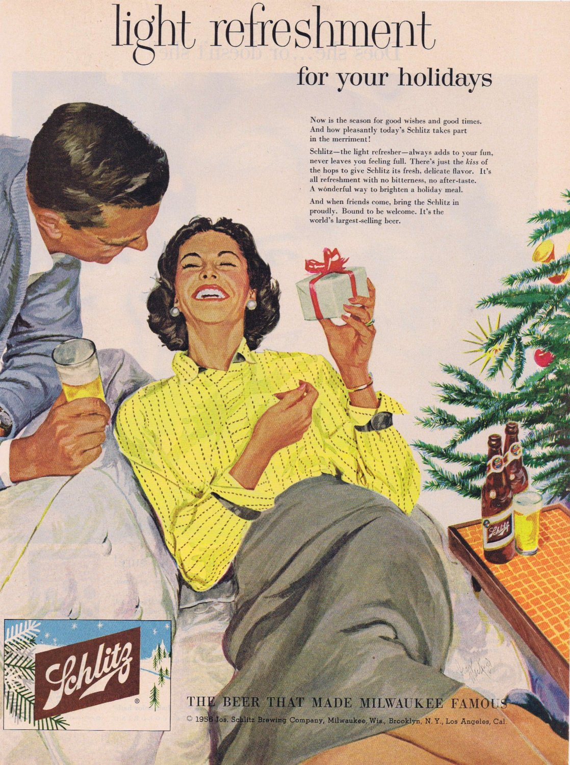 1956 Schlitz Beer Original Vintage Christmas Holidays Advertisement
