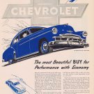 1949 Chevrolet Fleetline De Luxe 2-Door Sedan Vintage Automobile Ad with Unique Blue Ink Art