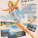 1947 Greyhound Bus Easy to Take Vacation Original Vintage Ad with Bathing Beauty