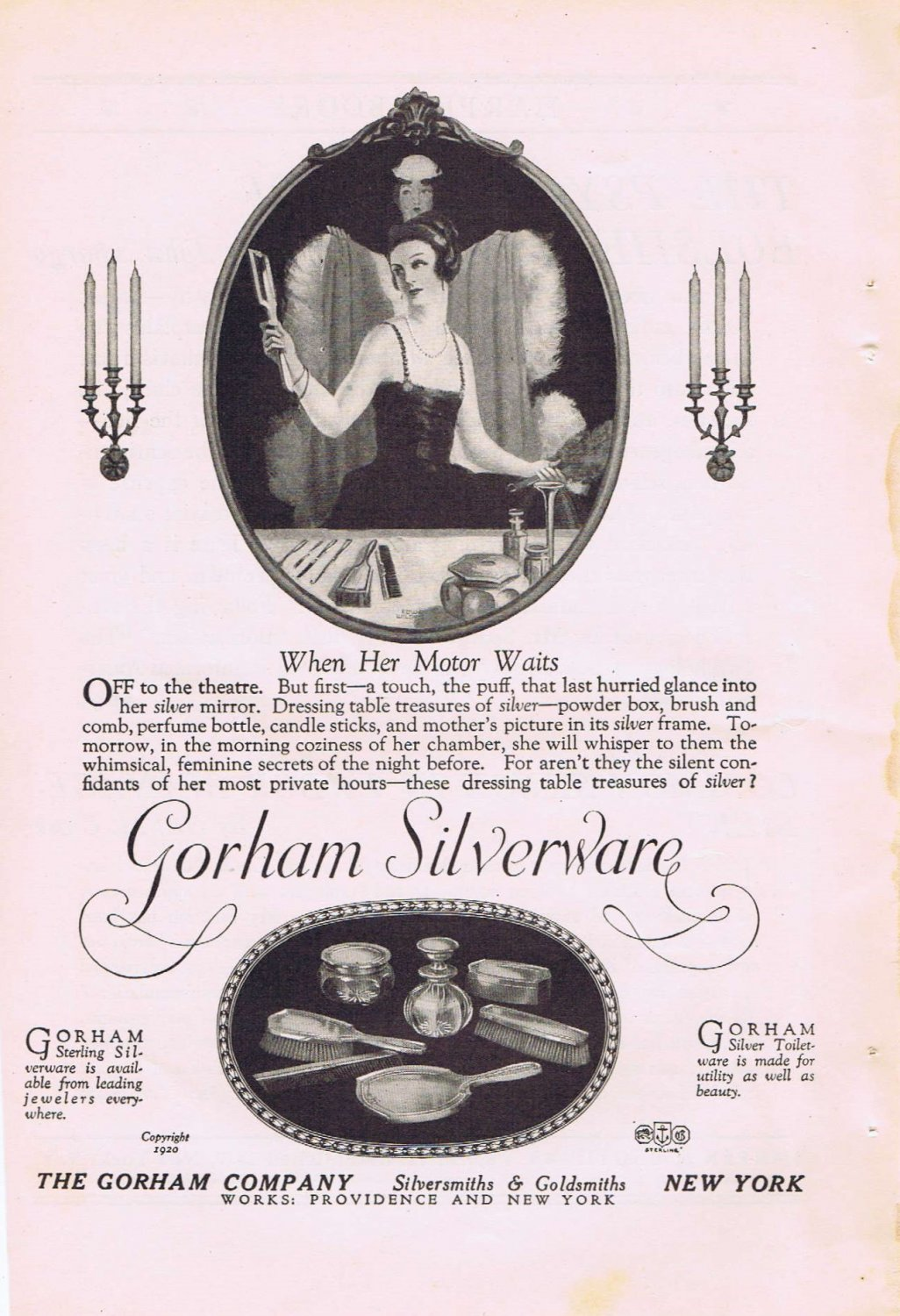 Gorham Silverware 1920 Original Vintage Ad Silversmiths and Goldsmiths