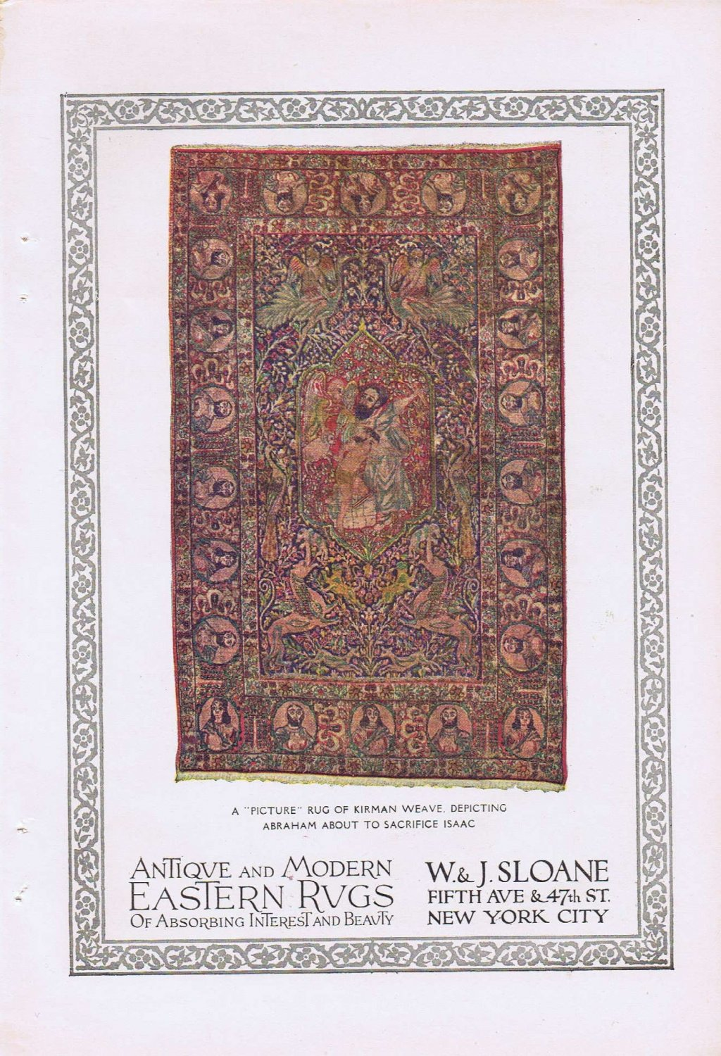 1920  Kirman Weave Picture Rug  of Abraham and Isaac Vintage Advertisement