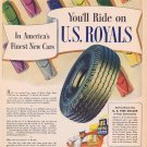 U.S  Royal Tires 1946 WW2 Era Original Vintage Advertisement by U.S. Rubber Co.