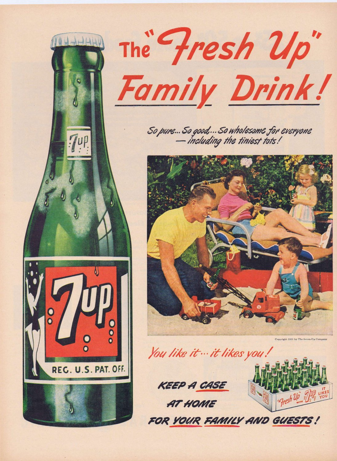 1951 7up Soft Drink Original Vintage Advertisement with Family Fun