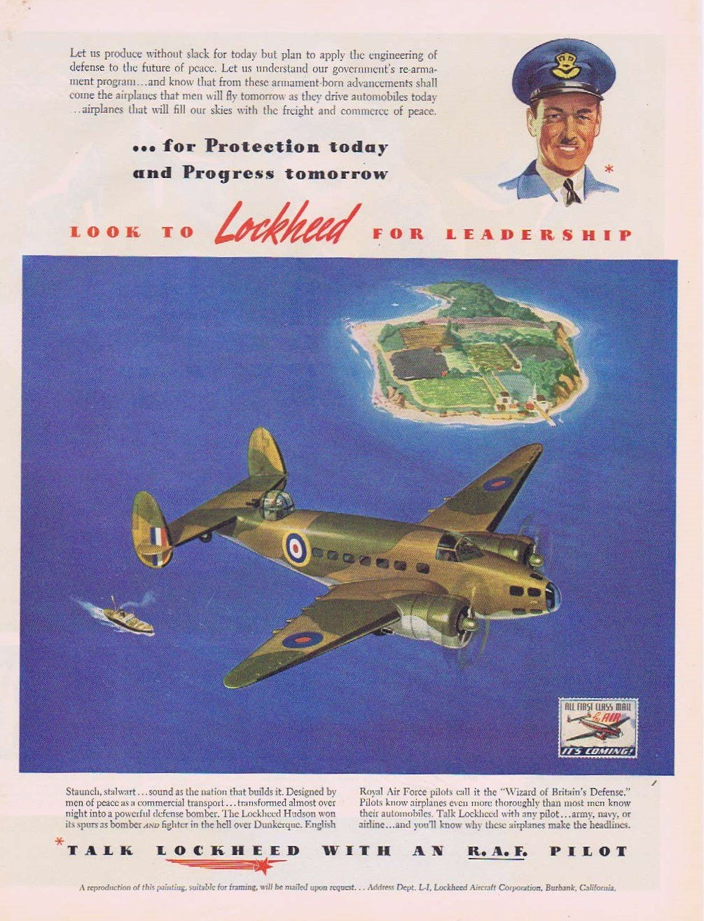 1941 Lockheed Hudson Bomber Military Plane Original Vintage Advertisement