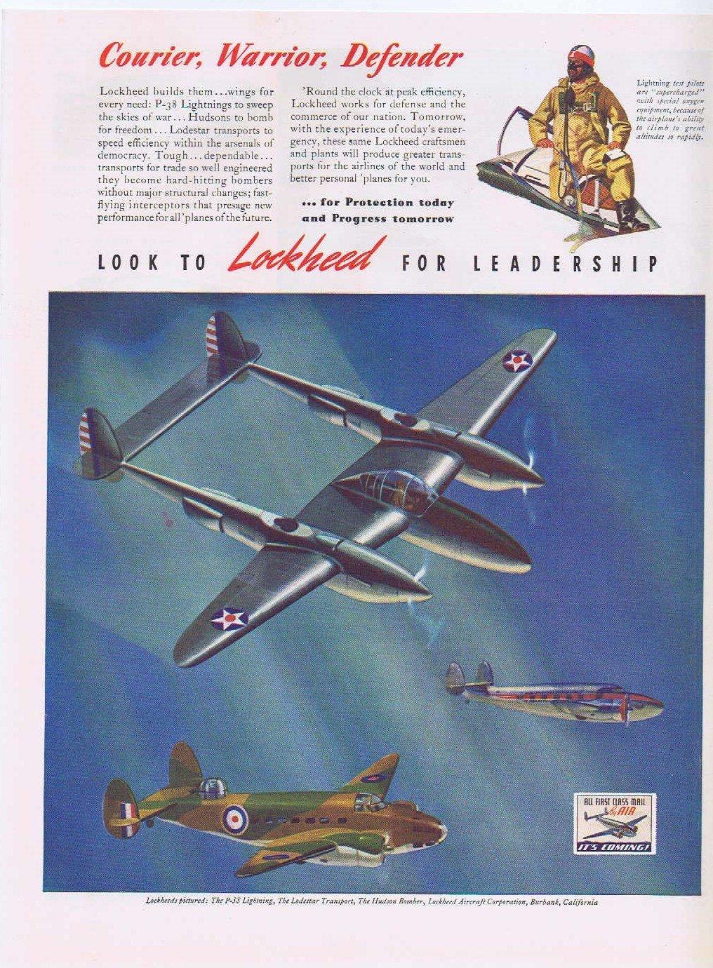 1941 Lockheed Military Planes Vintage Ad P-38 Lighting, Hudson Bomber Lodestar Transport