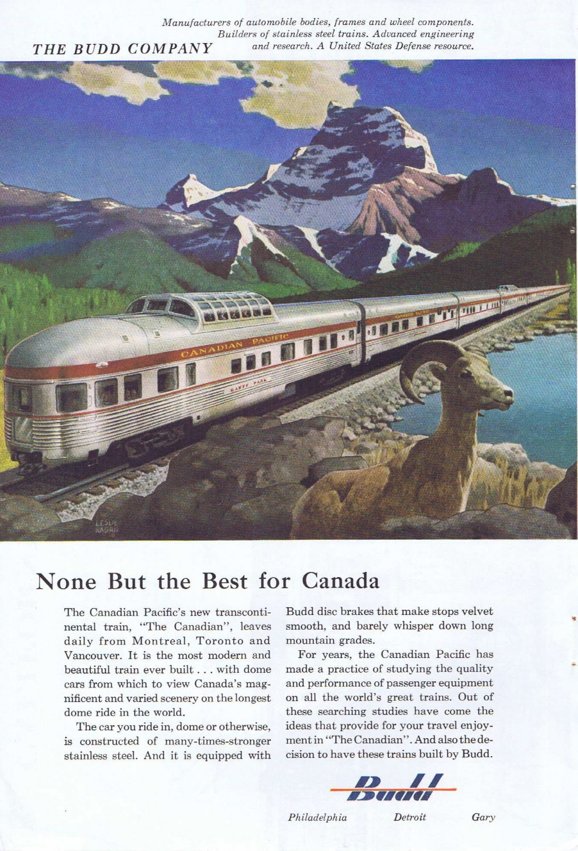 1955 Budd Canadian Pacific Railway Original Vintage Advertisement