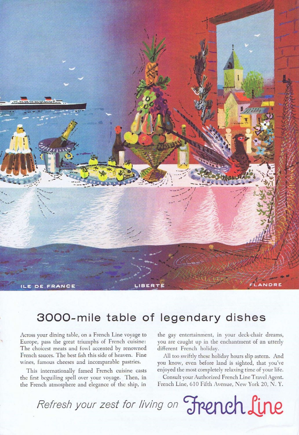 1955 French Cruise Line Original Vintage Advertisement of Legendary Dishes