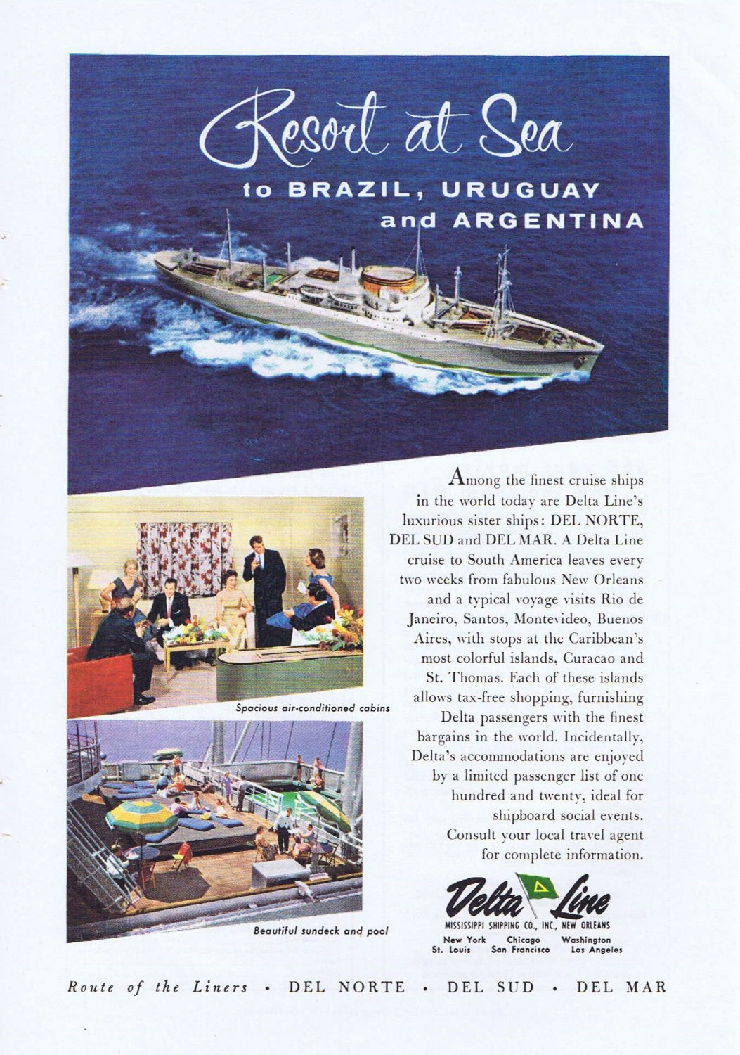 1957 Delta Cruise Ship Lines Original Vintage Ad to Brazil, Uruguay and Argentina