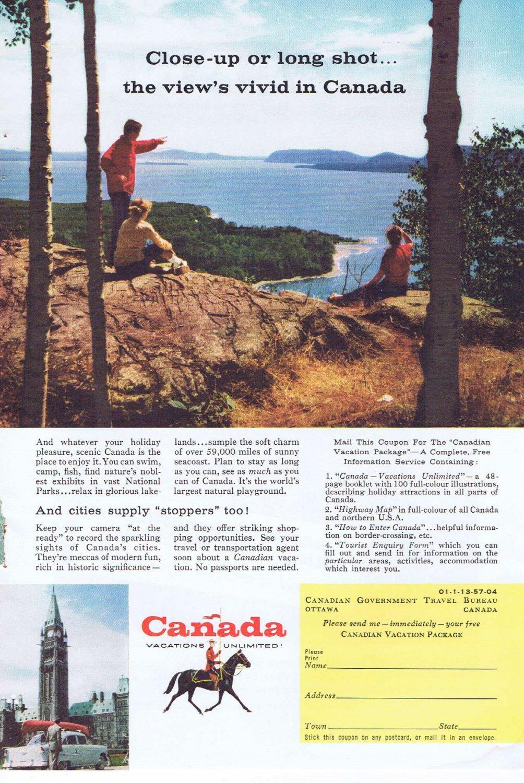 1957 Vacation in Canada by Canadian Travel Bureau Original Vintage Advertisement
