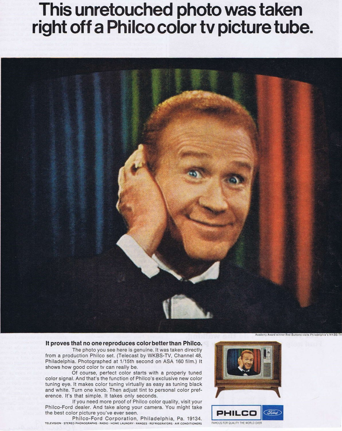 Red Buttons 1967 Ford Philco Television Original Vintage Advertisement
