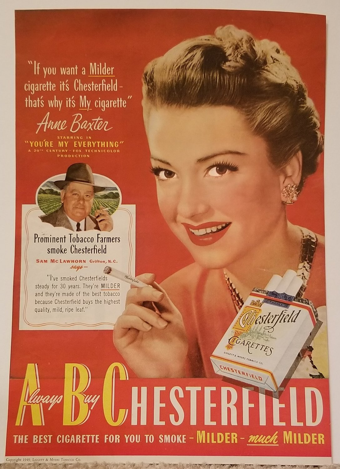 Anne Baxter 1949 Chesterfield Cigarettes Vintage Ad starring in �You�re My Everything� film