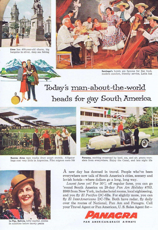 1957 Panagra Pan American-Grace Airways Original Vintage Advertisement for South America