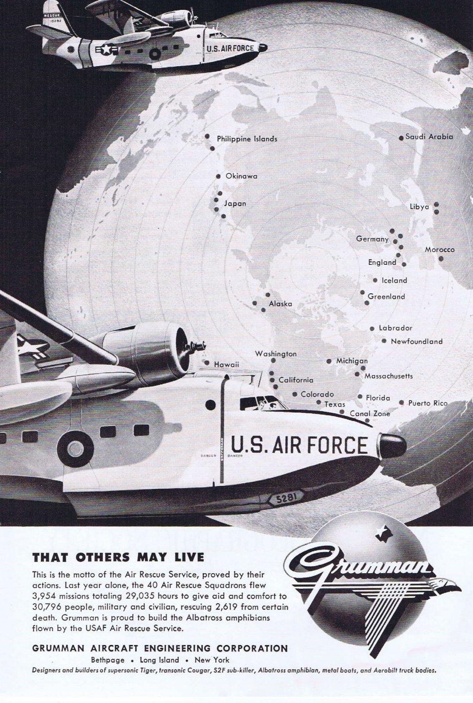 1957 Grumman Aircraft Air Rescue Squadrons Original Vintage Advertisement