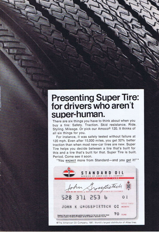 1967 Standard Oil Atlas Tires Original Vintage Ad with Credit Card