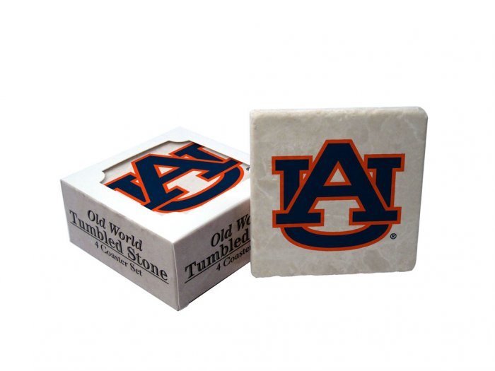AUBURN TIGERS OLD WORLD TUMBLED STONE COASTER SET LIMITED EDITION FREE SHIPPING
