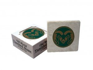 COLORADO  STATE RAMS OLD WORLD TUMBLED STONE COASTER SET LIMITED EDITION FREE SHIPPING