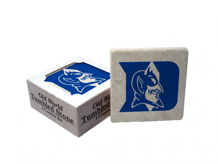 DUKE BLUE DEVILS OLD WORLD TUMBLED STONE COASTER SET LIMITED EDITION FREE SHIPPING