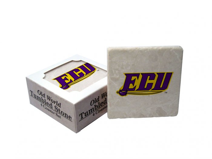 EAST CAROLINA PIRATES OLD WORLD TUMBLED STONE COASTER SET LIMITED EDITION FREE SHIPPING