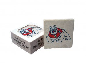 FRESNO STATE BULLDOGS OLD WORLD TUMBLED STONE COASTER SET LIMITED EDITION FREE SHIPPING