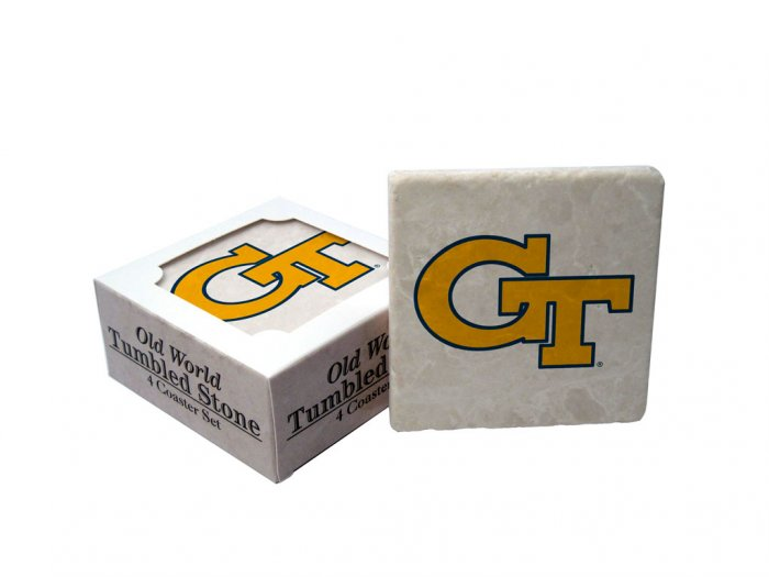 GEORGIA TECH YELLOWJACKETS OLD WORLD TUMBLED STONE COASTER SET LIMITED EDITION FREE SHIPPING