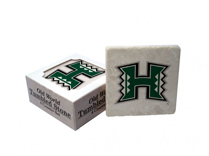 HAWAII RAINBOW WARRIORS OLD WORLD TUMBLED STONE COASTER SET LIMITED EDITION FREE SHIPPING