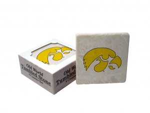 IOWA HAWKEYES OLD WORLD TUMBLED STONE COASTER SET LIMITED EDITION FREE SHIPPING