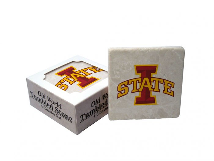 IOWA STATE CYCLONES OLD WORLD TUMBLED STONE COASTER SET LIMITED EDITION FREE SHIPPING