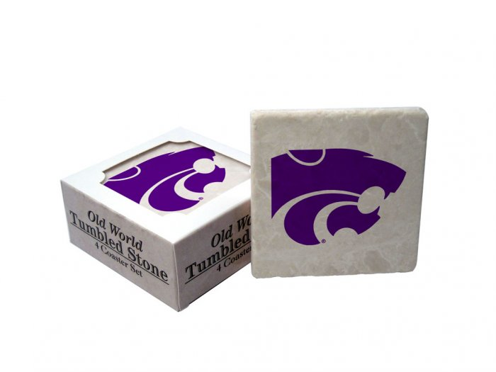 KANSAS STATE WILDCATS OLD WORLD TUMBLED STONE COASTER SET LIMITED EDITION FREE SHIPPING