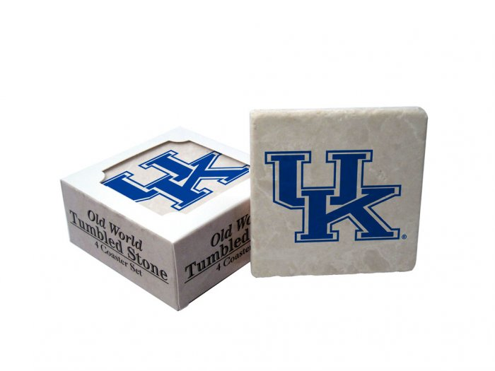 KENTUKCY WILDCATS OLD WORLD TUMBLED STONE COASTER SET LIMITED EDITION FREE SHIPPING