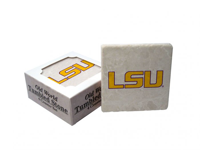 LSU LOUISIANA STATE TIGERS OLD WORLD TUMBLED STONE COASTER SET LIMITED EDITION FREE SHIPPING