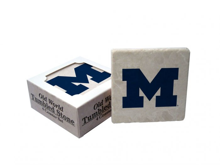 MICHIGAN WOLVERINES OLD WORLD TUMBLED STONE COASTER SET LIMITED EDITION FREE SHIPPING