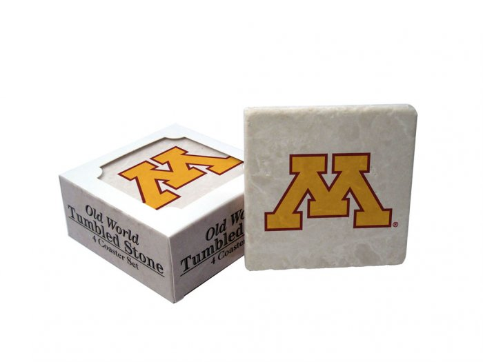 MINNESOTA GOLDEN GOPHERS OLD WORLD TUMBLED STONE COASTER SET LIMITED EDITION FREE SHIPPING