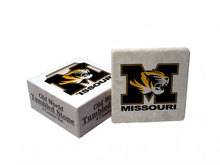 MISSOURI TIGERS OLD WORLD TUMBLED STONE COASTER SET LIMITED EDITION FREE SHIPPING