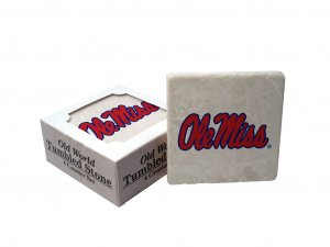 MISSISSIPPI REBELS OLD WORLD TUMBLED STONE COASTER SET LIMITED EDITION FREE SHIPPING