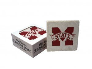 MISSISSIPPI STATE BULLDOGS OLD WORLD TUMBLED STONE COASTER SET LIMITED EDITION FREE SHIPPING