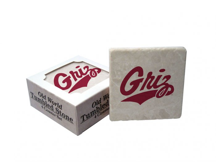MONTANA GRIZZLIES OLD WORLD TUMBLED STONE COASTER SET LIMITED EDITION FREE SHIPPING