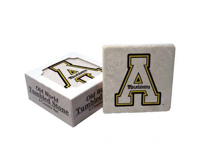 APPALACHIAN STATE MOUNTAINEERS OLD WORLD TUMBLED STONE COASTER SET LIMITED EDITION FREE SHIPPING