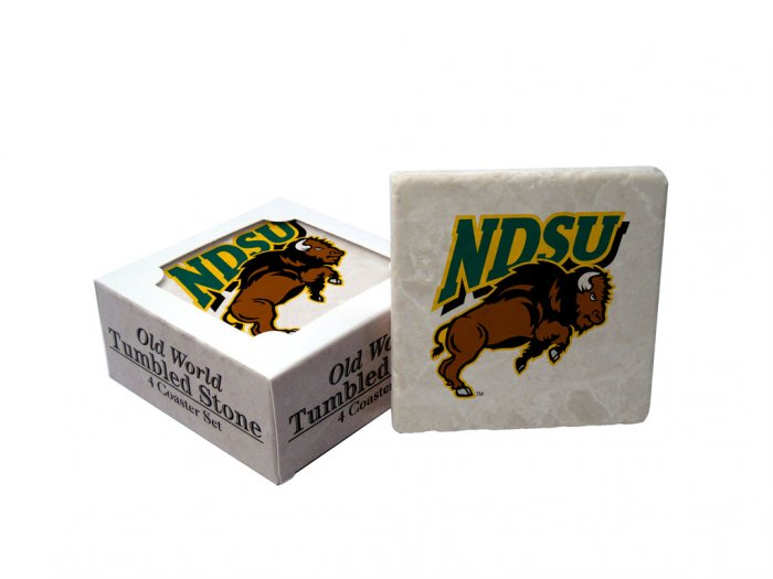 NORTH DAKOTA STATE BISON OLD WORLD TUMBLED STONE COASTER SET LIMITED EDITION FREE SHIPPING