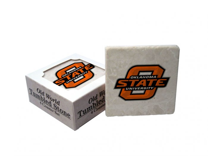 OKLAHOMA STATE COWBOYS OLD WORLD TUMBLED STONE COASTER SET LIMITED EDITION FREE SHIPPING