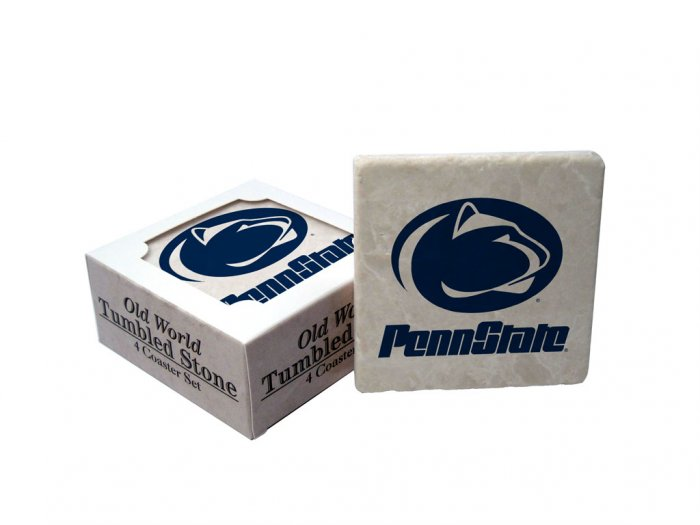 PENN STATE NITTANY LIONS OLD WORLD TUMBLED STONE COASTER SET LIMITED EDITION FREE SHIPPING