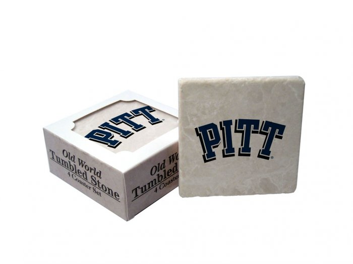 PITTSBURGH PANTHERS OLD WORLD TUMBLED STONE COASTER SET LIMITED EDITION FREE SHIPPING