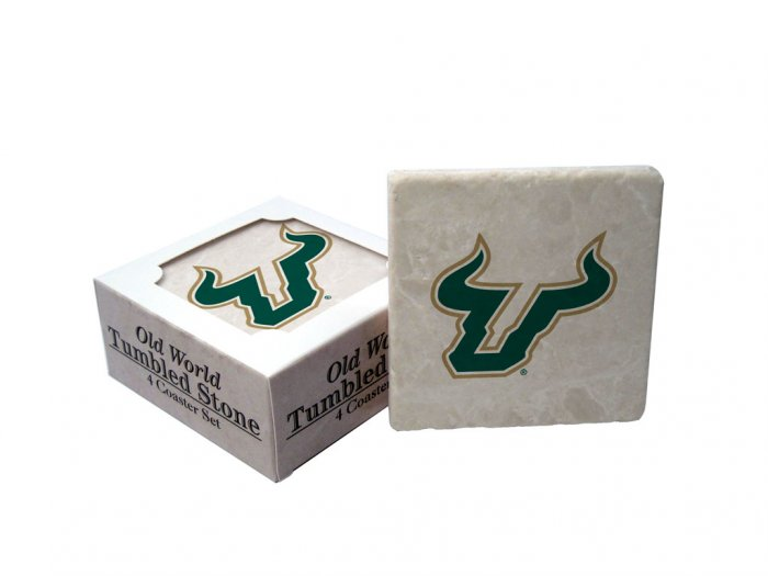 SOUTH FLORIDA BULLS OLD WORLD TUMBLED STONE COASTER SET LIMITED EDITION FREE SHIPPING