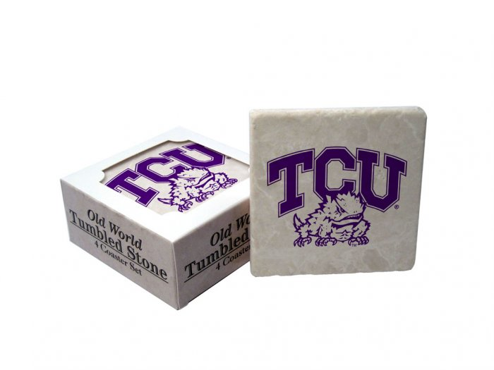 TCU TEXAS CHRISTIAN HORNED FROGS OLD WORLD TUMBLED STONE COASTER SET LIMITED EDITION FREE SHIPPING