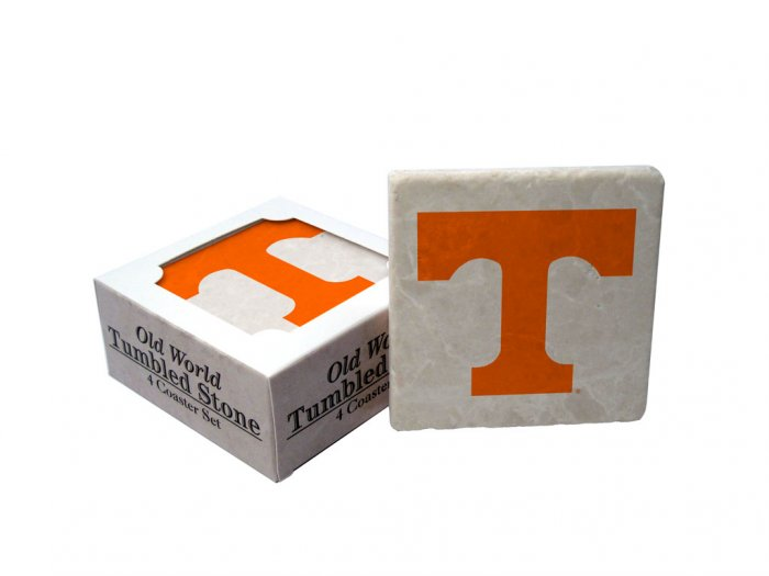 TENNESSEE VOLUNTEERS OLD WORLD TUMBLED STONE COASTER SET LIMITED EDITION FREE SHIPPING