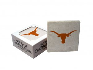 TEXAS LONGHORNS OLD WORLD TUMBLED STONE COASTER SET LIMITED EDITION FREE SHIPPING