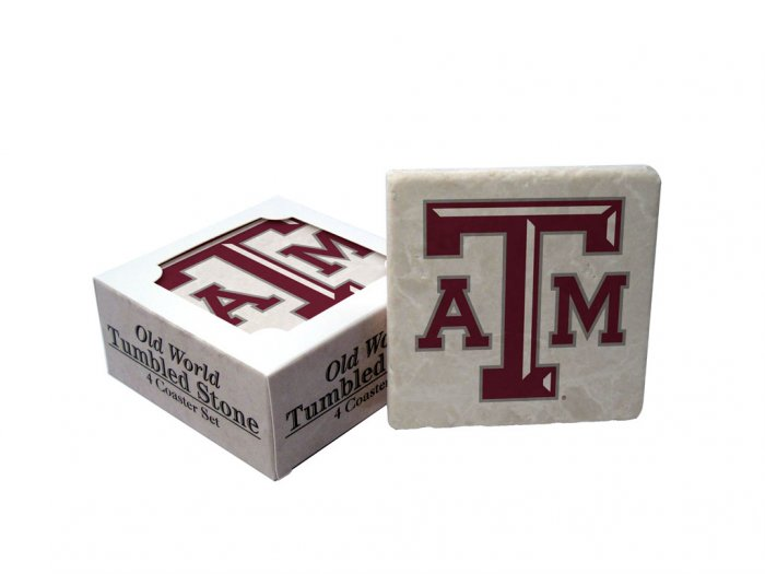 TEXAS A & M AGGIES OLD WORLD TUMBLED STONE COASTER SET LIMITED EDITION FREE SHIPPING