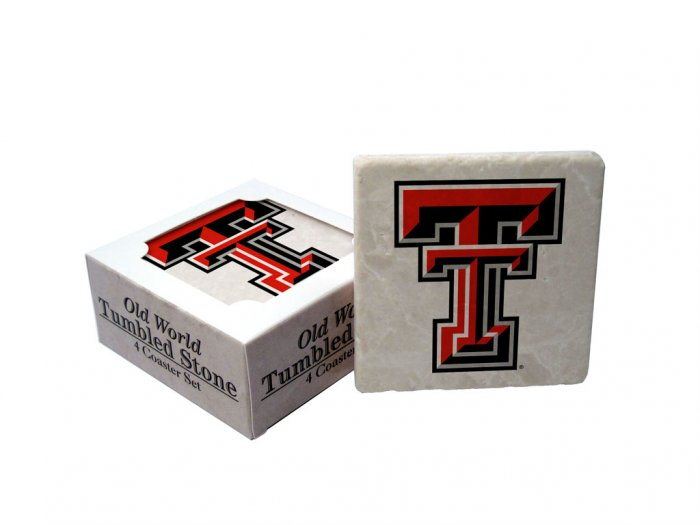 TEXAS TECH RED RAIDERS OLD WORLD TUMBLED STONE COASTER SET LIMITED EDITION FREE SHIPPING