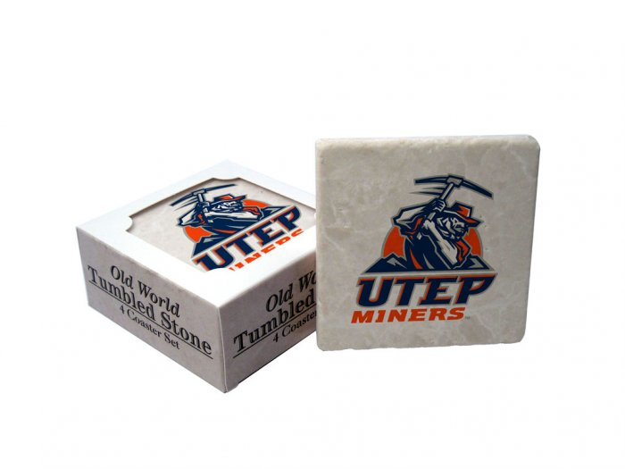 UTEP TEXAS EL PASO MINERS OLD WORLD TUMBLED STONE COASTER SET LIMITED EDITION FREE SHIPPING