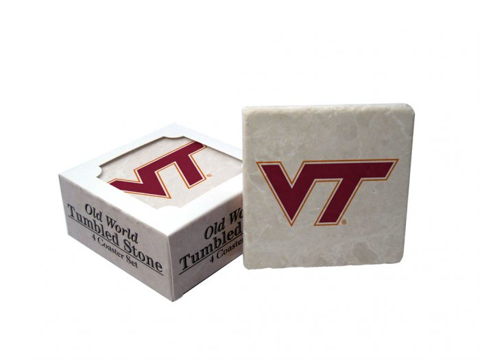 VIRGINIA TECH HOKIES OLD WORLD TUMBLED STONE COASTER SET LIMITED EDITION FREE SHIPPING